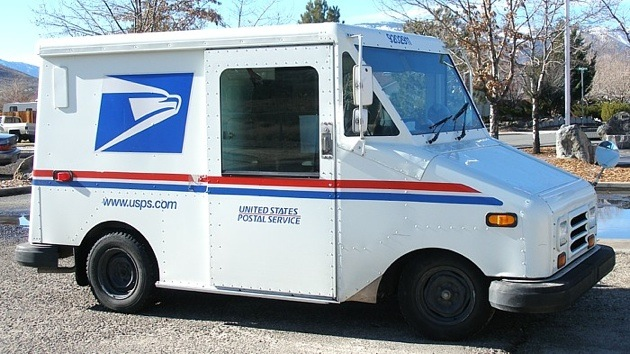 Image showing USPS postal service using electric delivery cars being more environmentally conscious