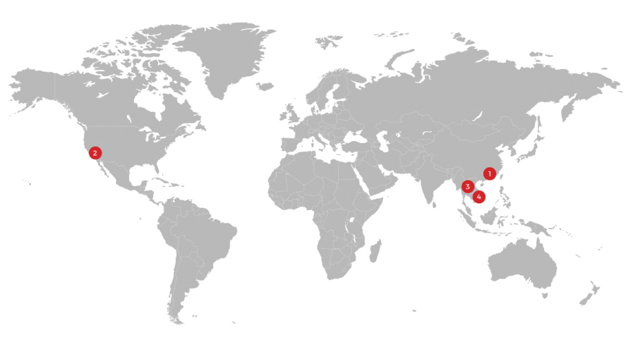 image of map showing locations of c2w regional offcies to move supply chain from china to vietnam